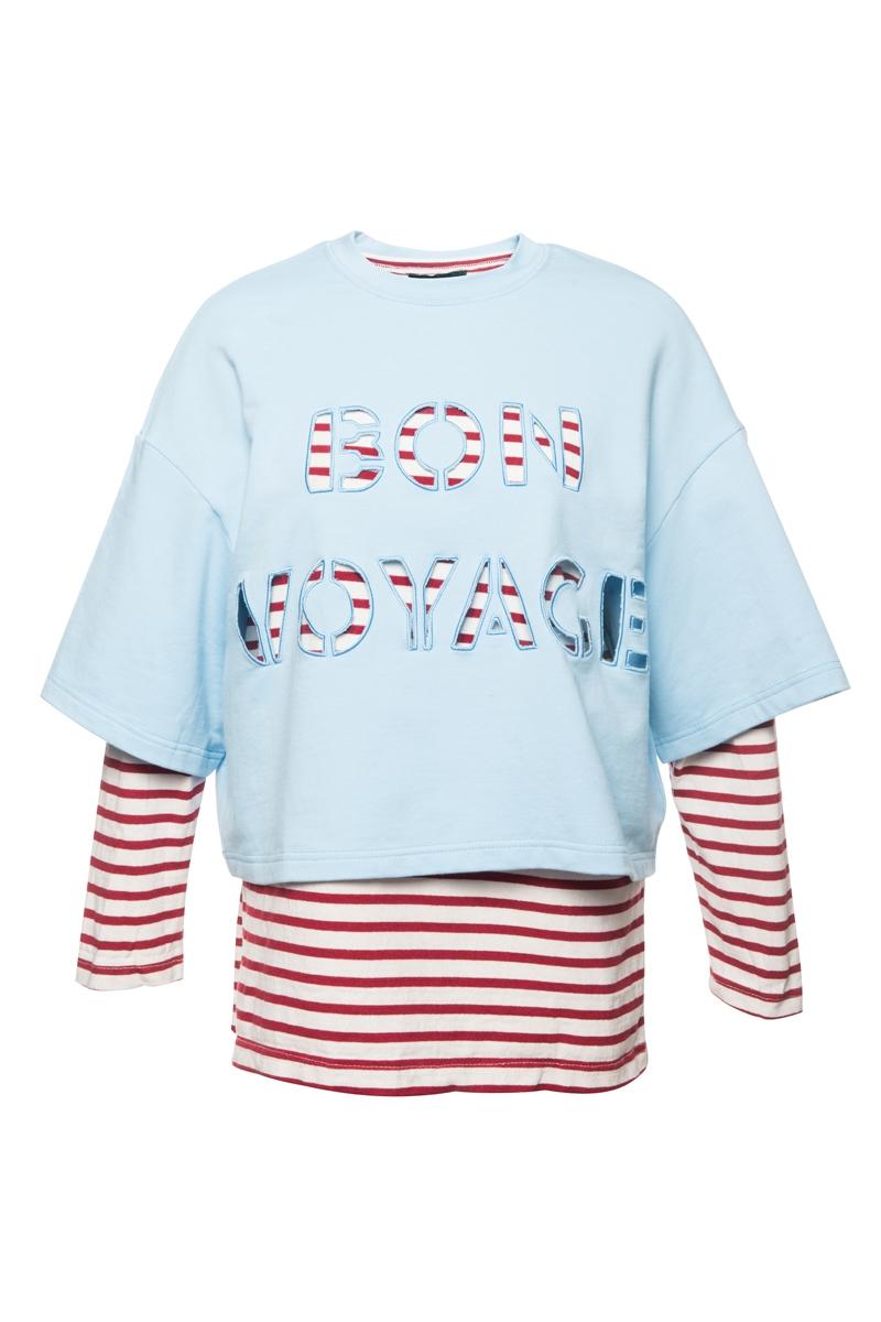 Front Row Shop / Blue 'Bon Voyage' 2-piece Top