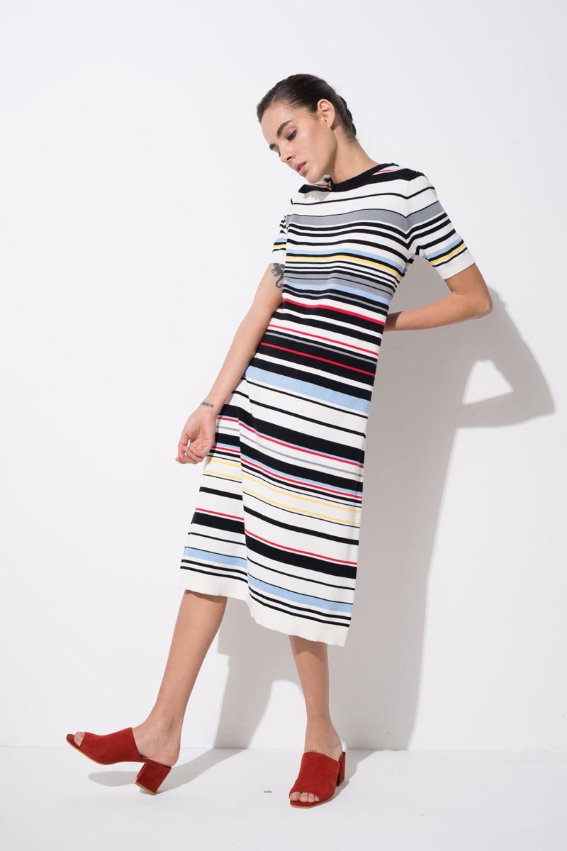 Front Row Shop / Multicolor Stripe Knit Midi Dress