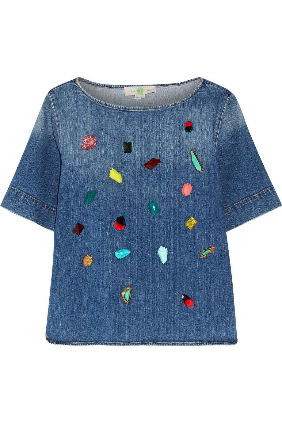 Stella McCartney / Stone-embellished stretch denim top