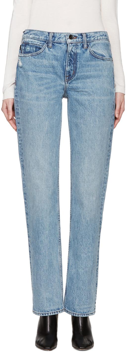 Helmut Lang Blue Worn Boyfriend Jeans