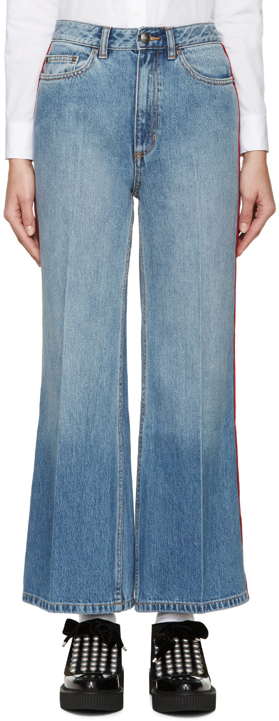 Marc by Marc Jacobs Blue & Red High-Waisted Flared Jeans