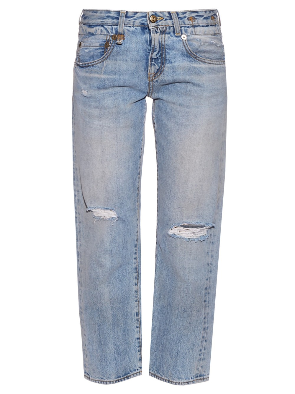 R13 Straight Boy Mid-Rise Cropped Jean