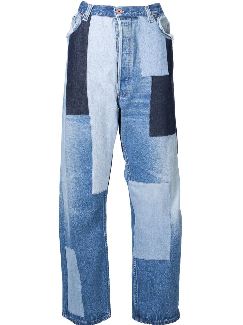 Off-White Wide-Leg Patchwork Jeans