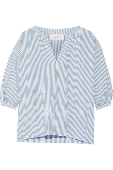 The Great / Striped cotton & linen blouse
