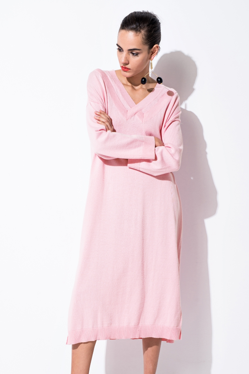 Front Row Shop: Pink Knitted Midi Dress was $72, now $58