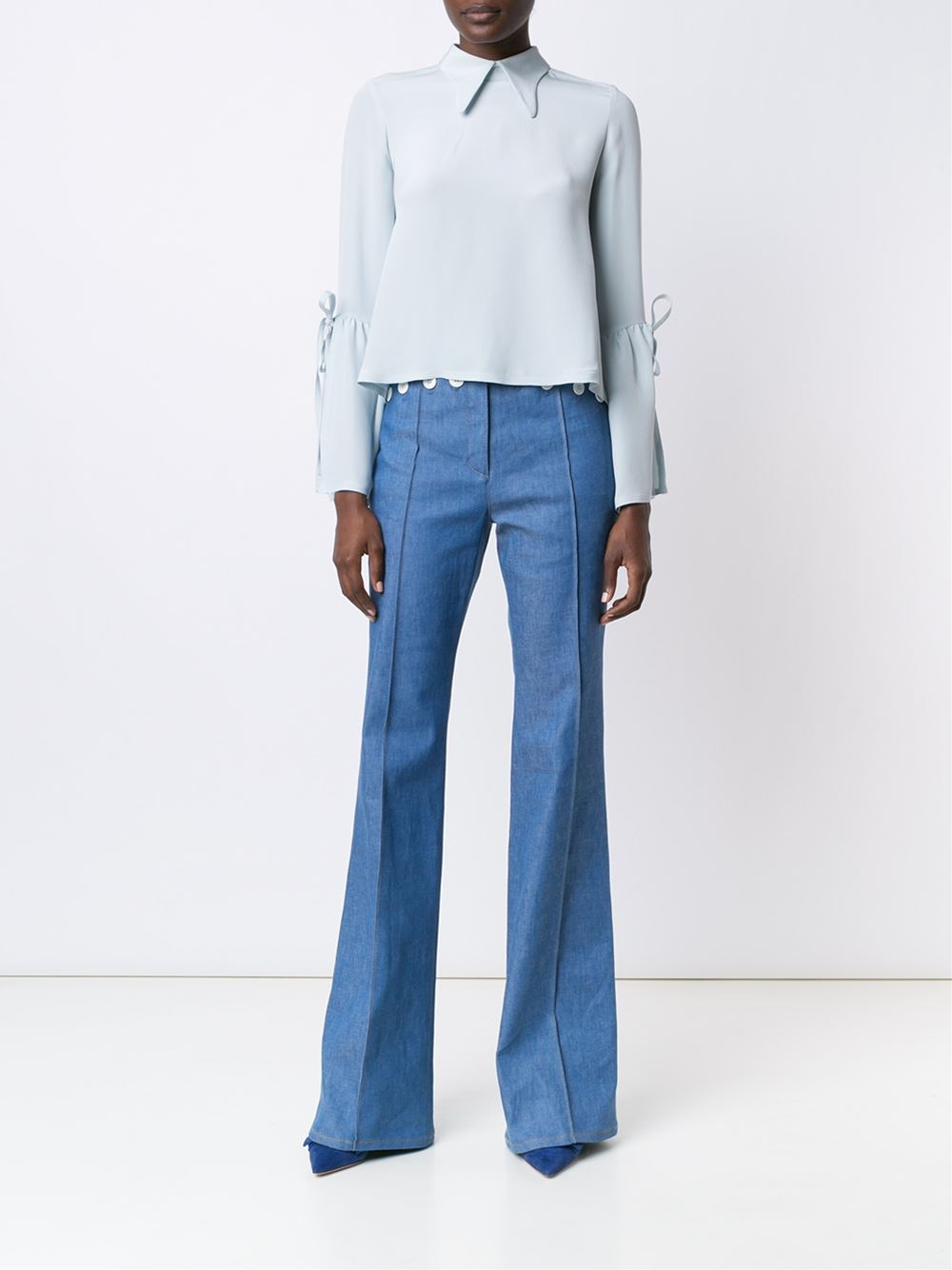 Derek Lam Narrow Collar Elbow Strings Blouse
