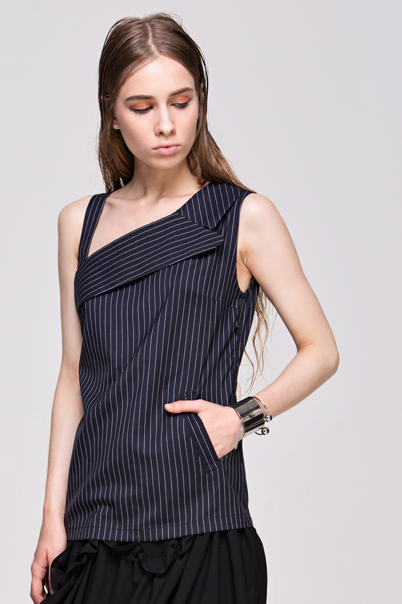Pinstripe Tank Top With Cutout Shoulder