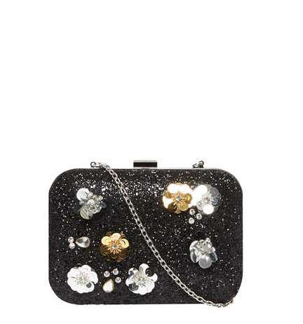 BLACK FLOWER BOX CLUTCH by DOROTHY PERKINS