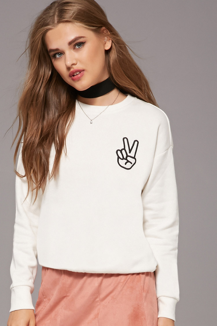 FLEECE PEACE SIGN SWEATER by FOREVER 21