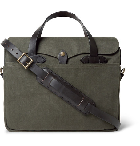 ORIGINAL LEATHER-TRIMMED TWILL BRIEFCASE by FILSON