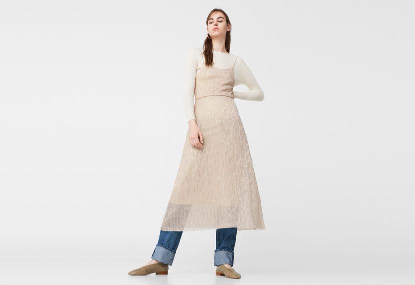 Metallic Pleated Dress by Mango via DNAMAG