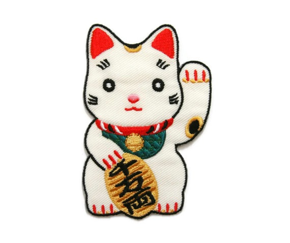 Lucky Cat Embroidered Iron-On Patch by DNATHESHOP