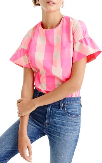 J.Crew Ruffled Sleeve Top