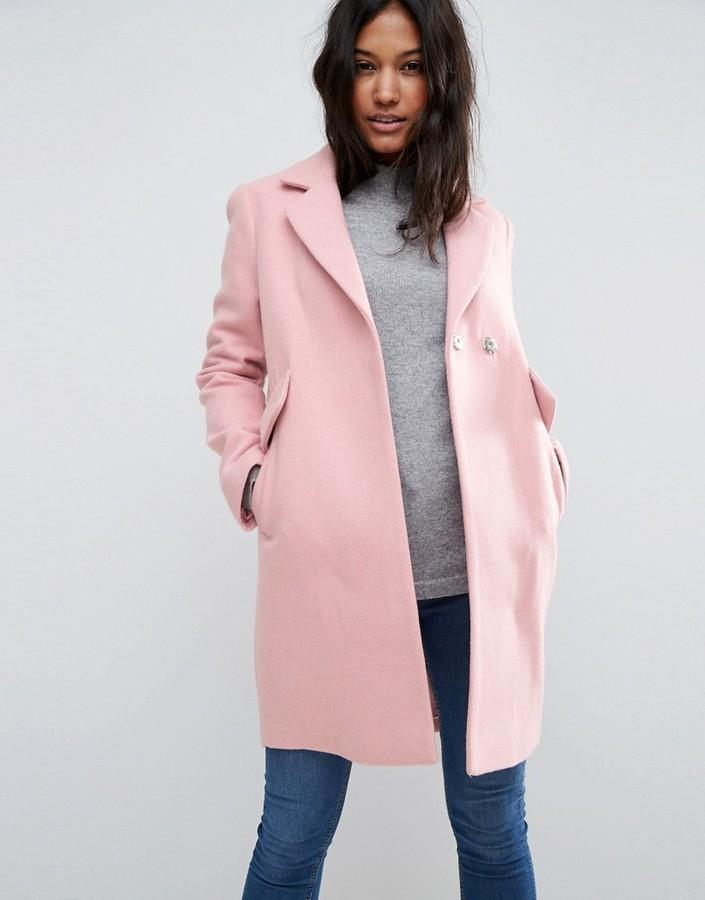 Asos pink slim coat