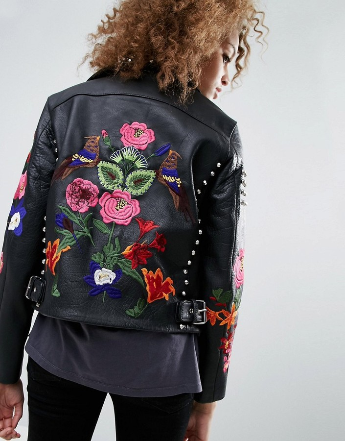 Asos Premium Embroidered Leather Biker Jacket