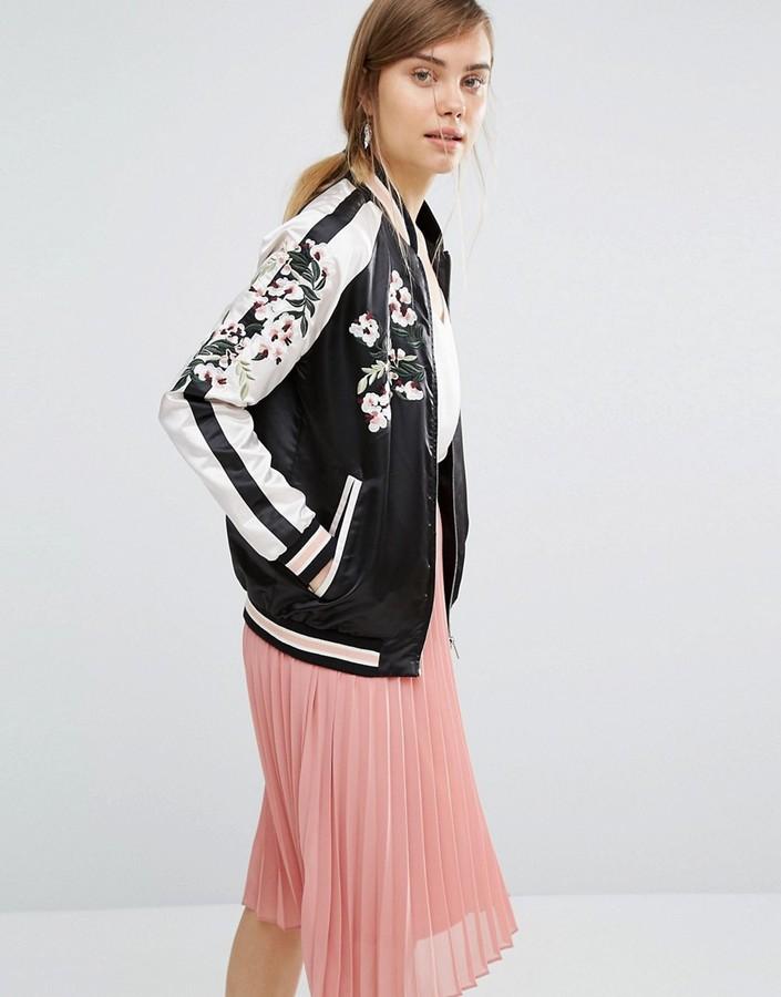 Vero Moda Satin Embroidered Bomber Jacket