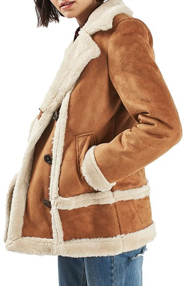 Topshop Faux Shearling Coat