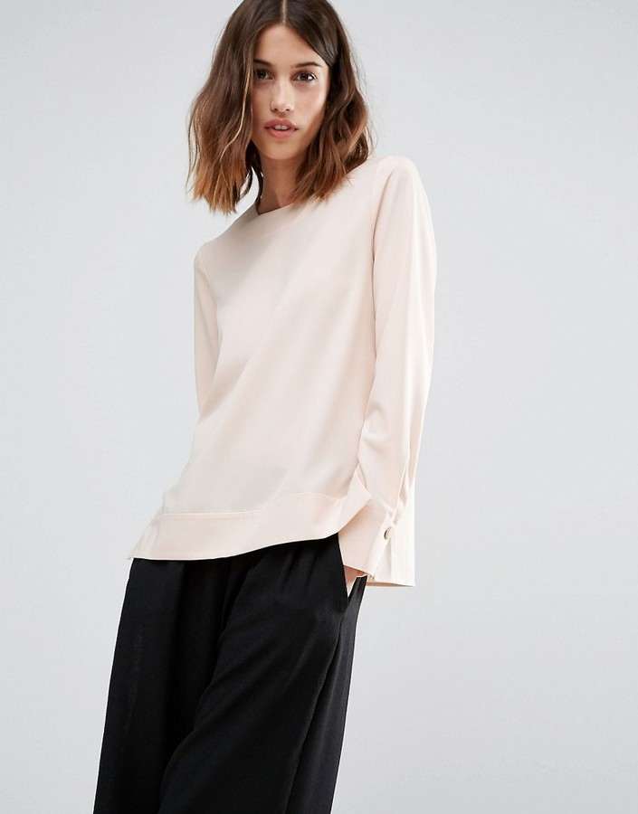 Warehouse dipped hem blouse via Asos