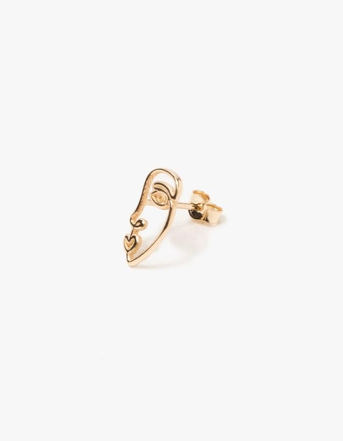 Sarah and Sebastian Face Earring in 14k Gold