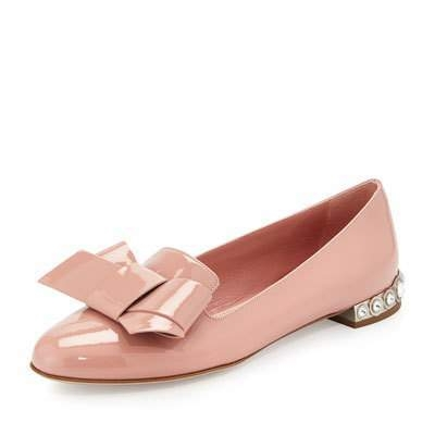 Miu Miu Camellia patent leather bow flat
