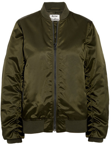 Acne Studios - Leia Ruched Satin Bomber Jacket