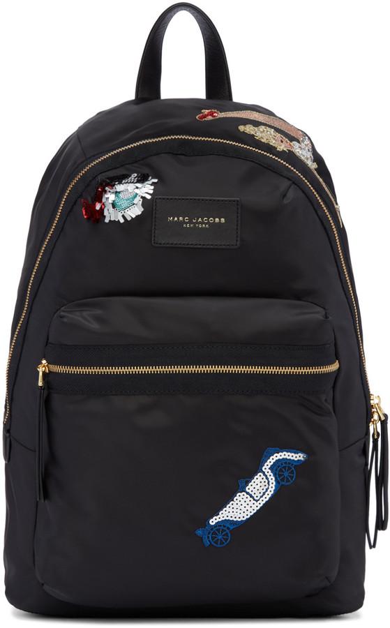 Marc Jacobs black nylon collage biker backpack