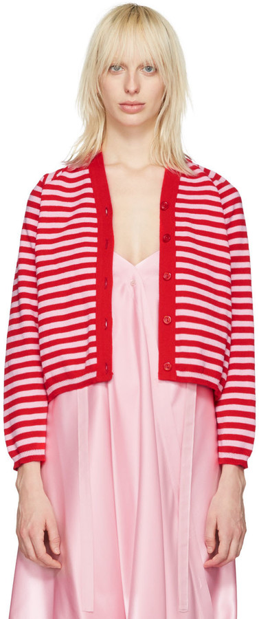 Molly Goddard - pink and red stripe charlie cardigan