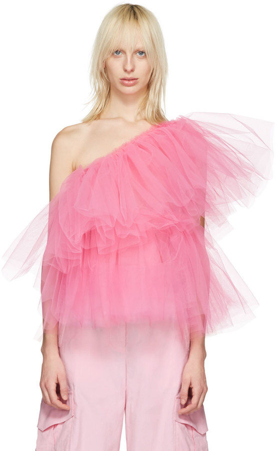 Molly Goddard - Pink Tulle One Shoulder Top