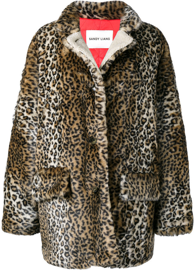 Sandy Liang quincy leopard print coat