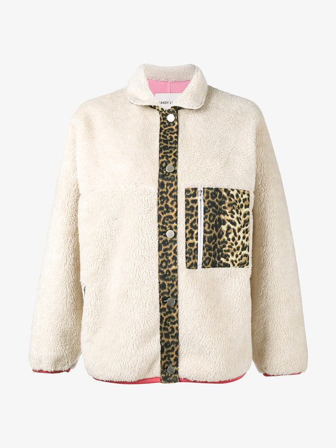 Sandy Liang checkers leopard print jacket