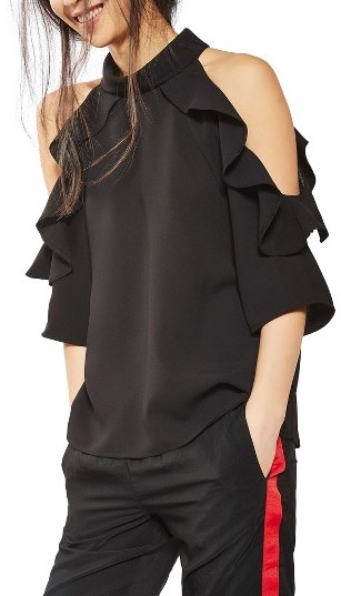 Topshop ruffled cold shoulder top
