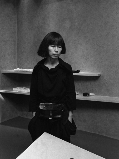 Rei Kawakubo at the 1983 opening of CDG shop in Henri Bendel, New York City.