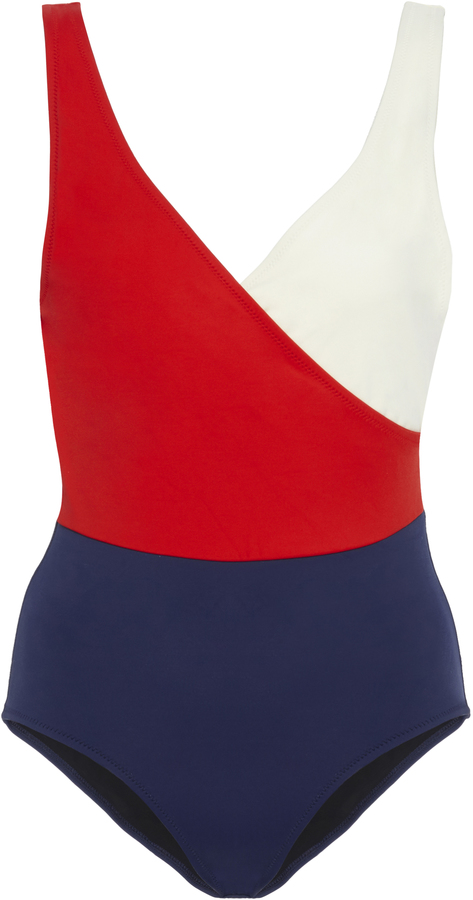 Solid & Striped 'Wrap Color-block Swimsuit'