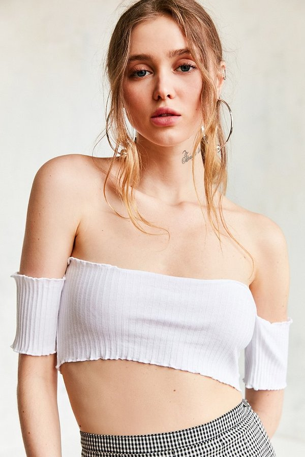 Silence + Noise ribbed off the shoulder top