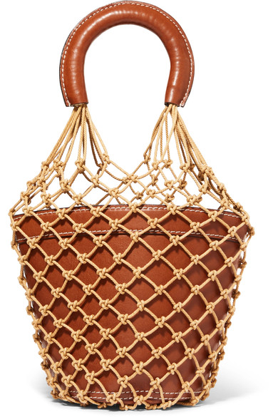 Moreau macramae leather bucket bag by STAUD