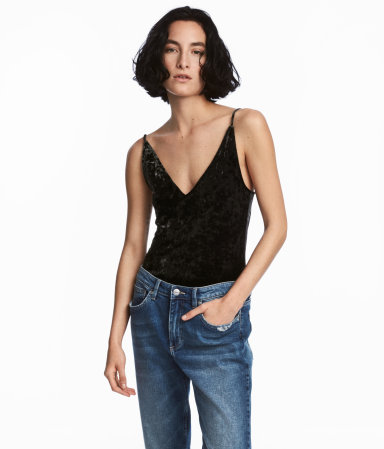 H&M crushed velvet bodysuit under $20