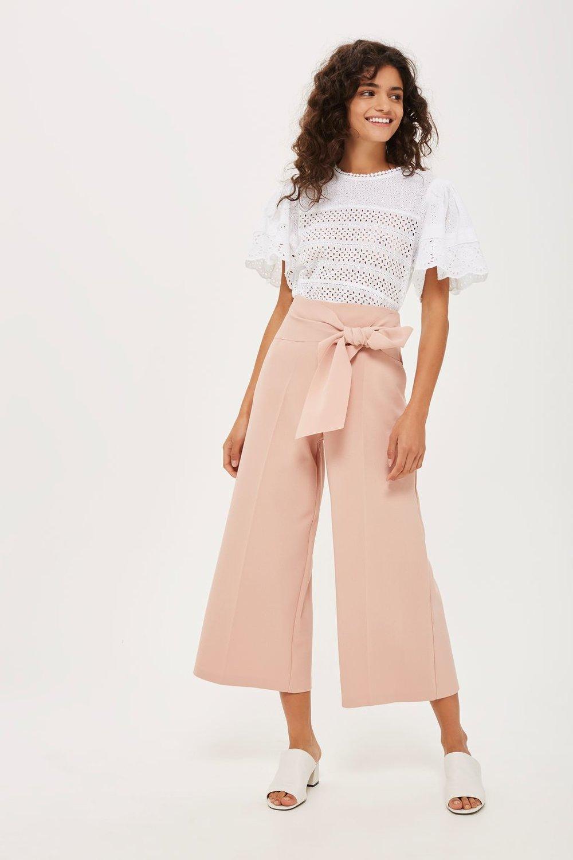 Tiptop tie crop wide leg trousers