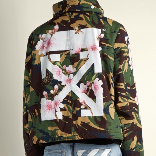 Off-white high-neck camo jacket