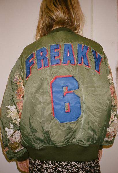 Dry Clean Only - blue freaky embroidered sleeve bomber jacket