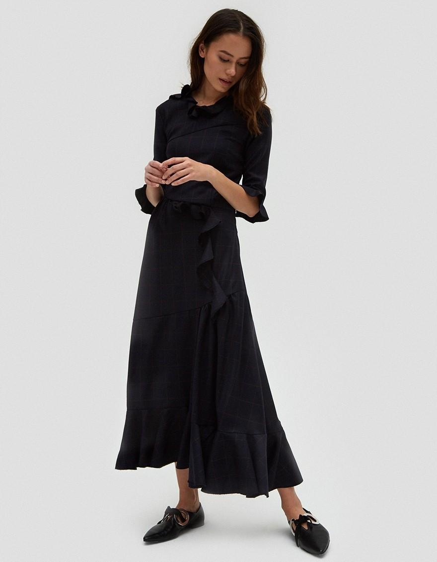 - ALINA RUFFLE DETAIL DRESS