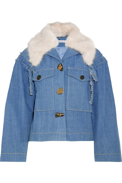 - DAPHNE FAUX FUR TRIMMED DENIM JACKET $785