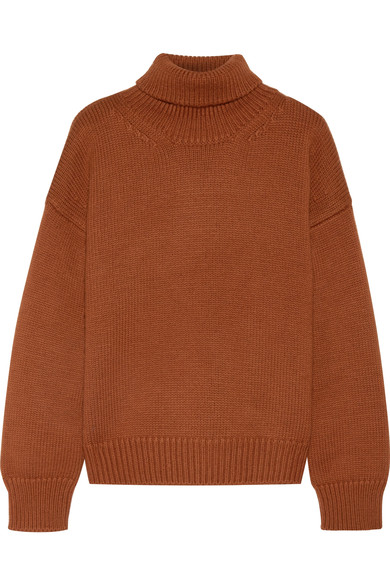 - OVERSIZED CHESTNUT MERINO WOOL TURTLENECK SWEATER $445