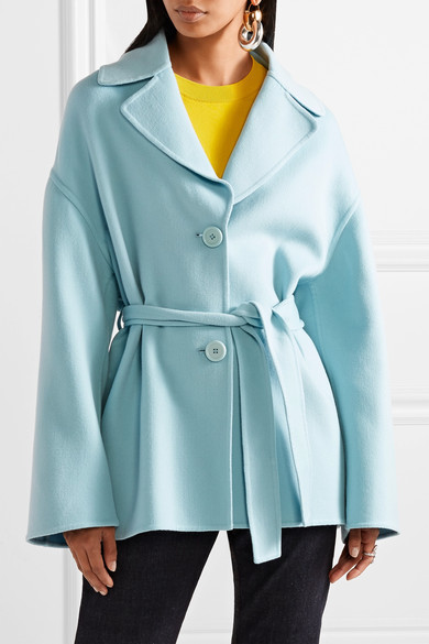 - OVERSIZED BELTED WOOL + CASHMERE COAT IN SKY BLUE $895