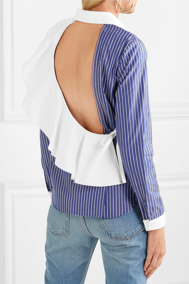 - ENZO OPEN BACK RUFFLED STRIPED SHIRT $355  *photo via Net-a-Porter