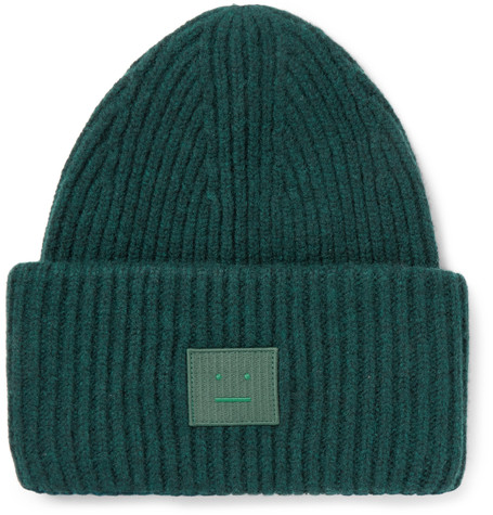 - APPLIQUE RIBBED WOOL BEANIE / Acne Studios