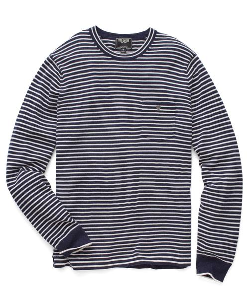 - CASHMERE T-SHIRT SWEATER IN NAVY STRIPE / Todd Snyder
