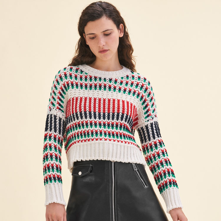 - Maje: 25% off all clothing, coats & accessoriesDecorative multi-colored sweater $470