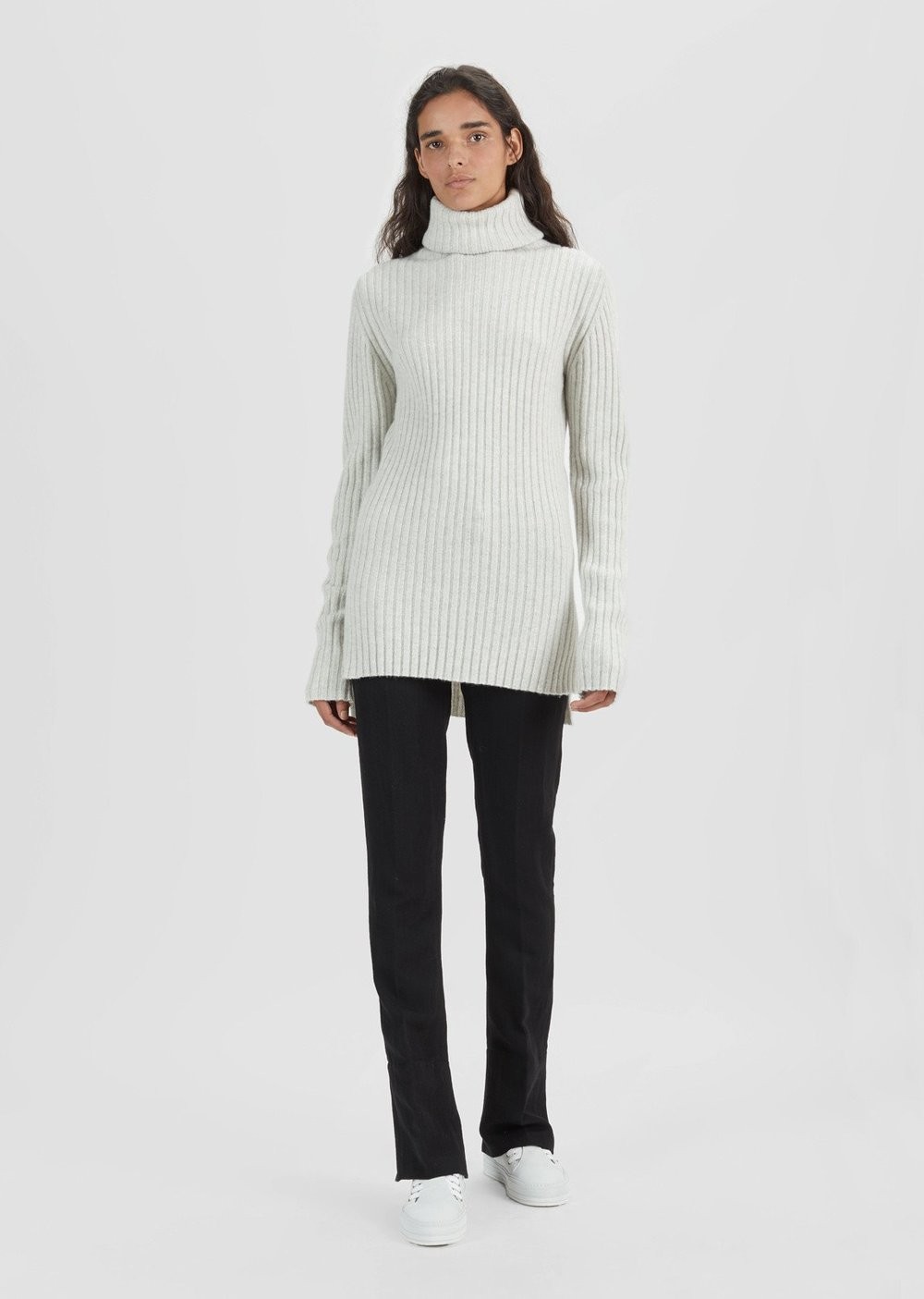 - WOOL CASHMERE RIBBED TURTLENECK SWEATER /Ann Demeulemeester $760