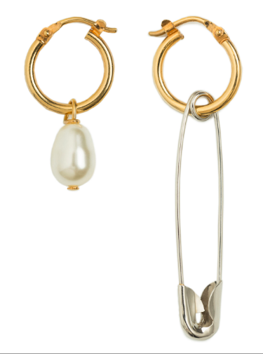 - SAFETY PIN + PEARL HOOP EARRINGS $240