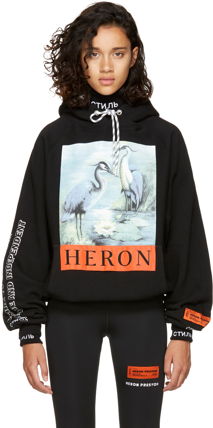 - BLACK HERON HOODIE / Heron Preston (on sale) $345 available at SSENSE
